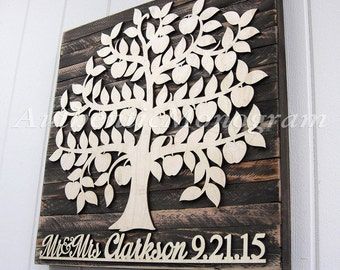 Personalized Wedding Guest Book - Wooden Sign - Bridal Shower Gift - Rustic Wall Decor, Custom Family Tree, Wall Art,