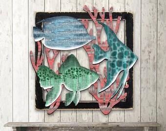 Beach Decor Wall Art TROPICAL FISH MARINE Life Wooden Decorative Wall Art - Coastal decor - Beach decor  #G98537S3