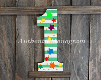 First Birthday - Kids Photo Prop - Large Wooden DECORATED Number. Baby Birthday, Birthday Party Decoration, Guest Book Home Decor 1511r*