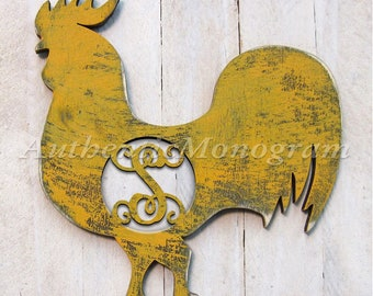 Personalized Single Letter Rooster wooden shape - Unpainted L98322