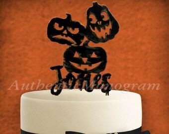 Custom Name HALLOWEEN JACK O LANTERN Pumpkins Wooden Cake Topper 94330
