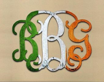 St Patricks day wreath - Irish Decor, Irish Wedding, Monogram Wall Hanging, Irish Wedding Gift , St. Patrick's Day 91101-IR