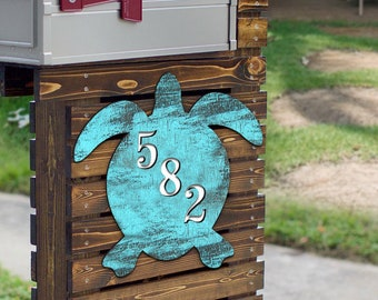 Coastal Door Numbers Sign - House Number Plaque - Custom Home Address Sign MA985182