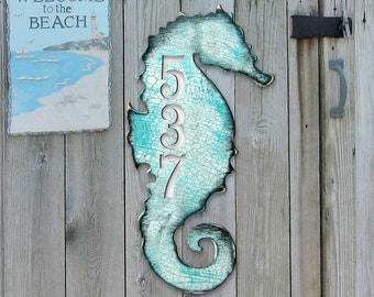 Coastal House Number Sign - House Number Plaque - Custom Home Address Sign MA98517