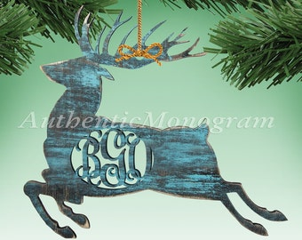"6"" Personalized Christmas Reindeer - Three Letter Monogram - Christmas Ornaments - Wooden Monogram - Wooden Ornament - Christmas Decorations"
