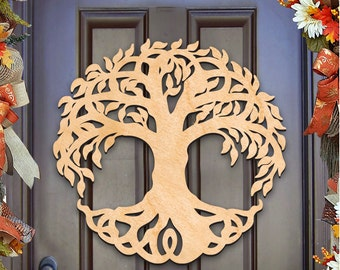 St Patricks day wreath - TREE Of LIFE CELTIC Art Wall decor, door hanger, Unfinished  Wood, Housewarming Gift Newlywed gift – 93167H-20