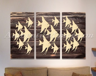 Beach Decor Wall Art FISHES on Wooden decorative block - 3 PIECE BLOCK - Coastal decor - Beach decor G98537SX-B3