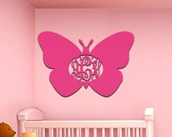 Spring Decor - Custom Wooden Monogram Easter Butterfly – Three Letter Vine – Natural #98719S