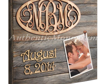 Wedding Sign  MONOGRAM & DATE to Remember mounted on 24inch PICTURE Frame Weathered Board Home Decor Wedding Baby  510324