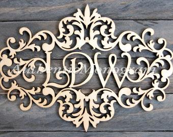 Sale 24 inch Wooden VICTORIAN FRAME MONOGRAM - Unpainted Monogram - Home Decor, Wedding Decor,Initial Monogram, Door Hanger, Guarden 111732