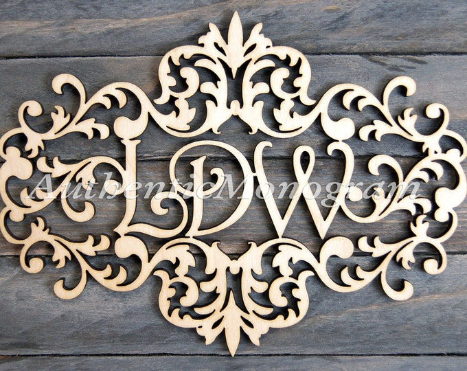 Featured listing image: Personalized Gift  Wooden Monogram -  VICTORIAN FRAME MONOGRAM - Unpainted Monogram - Home Decor - Wedding Monogram - Door Hanger - Wedding