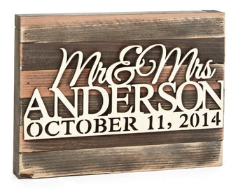 Sale Vintage Wedding signs - Mr & Mrs Wedding Monogram Sign Mounted on Wooded Vintage Board Home Decor Wedding Personalized Gift #95127