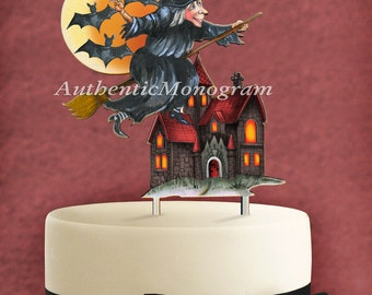 HALLOWEEN Cake Topper Monogram, Scene Decorated on Wood, Halloween Décor, Trick a Treat Celebration, Special Occasion Party (4210p