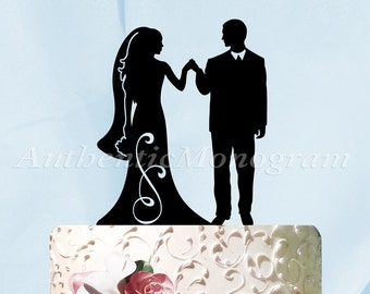 Wedding Cake Topper - Wedding Cake Topper -   Mr & Mrs Silhouette Wooden Cake Decoration - Rustic Wedding Cake topper.