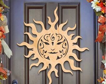 St Patricks day wreath - CELTIC SUN Symbol CHARM Wall decor, door hanger, Unfinished  Wood, Housewarming Gift  93169H-20