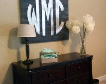 24 inch Wooden Monogram  mounted on Weathered Board Home Decor, Wedding, Baby, Romantic 5116P
