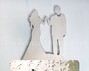 Wedding Cake Topper - Wedding Cake Topper Silhouette, Bride and Groom, Wedding decor, Wooden Cake Topper, Unpainted