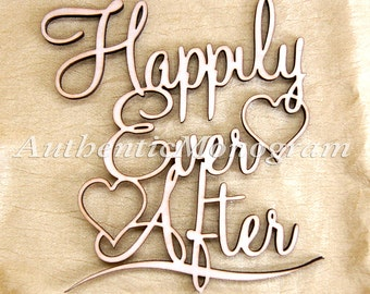 Happily Ever After Wedding Sign - Unpainted Wooden Monogram, Wedding Decor, Home Decor, Engagement Monogram  #91115