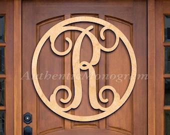 A - Z Wooden Monogram Letter Door Hanger Front door wreath with initial Wall Art Home Decoration
