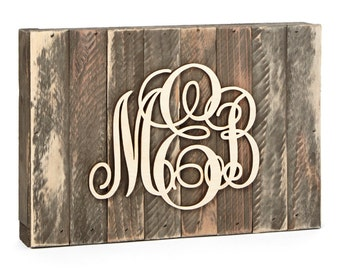 Custom Three Letter Monogram Sign Mounted on Distressed Wood Vintage Board Home Decor, Wedding, Initial Monogram, Wall Hanging 5101*
