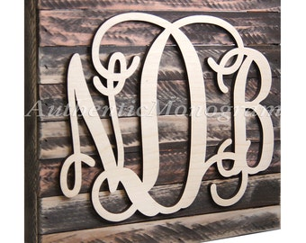 SALE Wooden Monogram Mounted on DISTRESSED WOOD Vintage Board, Home Decor, Wedding, Initial Monogram, Love Gift, Romantic,Wall Hanging 5101*