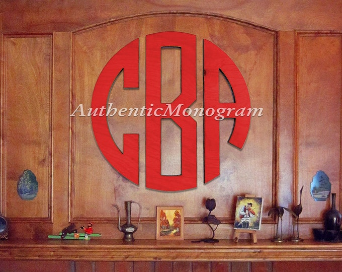 """Featured listing image: Wooden Monogram - Large 36"""" CIRCLE Monogram - PAINTED Circle Monogram - Home Decor - Wedding Guest book - Wedding Gift"""