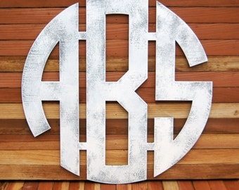 Modern Circle Wood Monogram - Contemporary Wall Hanging - Nursery Monogram - Home Decor Monogram - Personalized Monogram Gifts