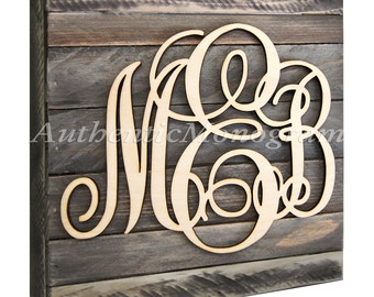 Wooden Monogram Mounted wood monogtram on 24inch VINTAGE WEATHERED BOARD, Home Decor, Wedding Decor, Initial Monogram, Wall Hanging 5101w24