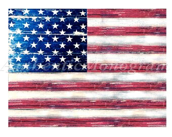4th of july American  and all States Flag Rustic Wooden Hand made  Weathered Board.