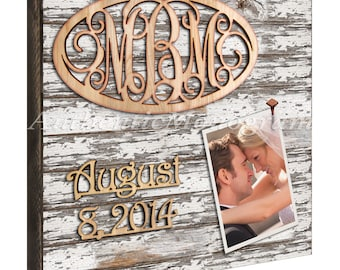 """Custom Wooden MONOGRAM & DATE to Remember mounted on 24"""" PICTURE Frame White Weathered Board; Home Decor, Wedding, Romantic, Nursery 5103w*"""