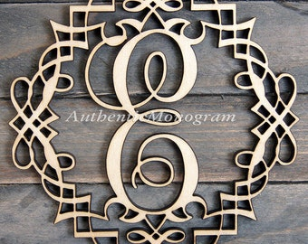 "24 "" Wooden CLASSIC FRAME Single Letter Unpainted Monogram, Home Decor, Anniversary, Initial Monogram, Door Hanger, Guarden Decor1307*"