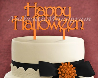 """Wooden Unpainted Cake Topper """"Happy Halloween"""" Home Decor Monogram, Initial, Celebration, Anniversary, Special Occasion, Holiday (4214"""