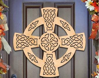 St Patricks day wreath - CELTIC WHEEL CROSS Wall decor, door hanger, Unfinished Wood, Housewarming Gift – 93161H-20