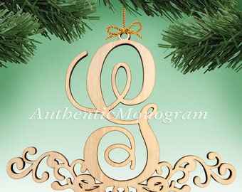 Wooden MONOGRAM ORNAMENT Single Letter unpainted 5 inch Home Decor, Anniversary, Initial Monogram, Holiday, Nursery, Christmas Ornament 6101