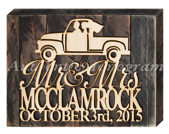 Personalized gifts Wedding sign Vintage Pickup Truck Custom Sign Mounted Distressed Wood Board Wedding Wall Hanging 51132