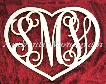 Valentine's Gift Personalized Wooden Monogram Heart - Home Decor - Love - Valentine's Gift  1104*