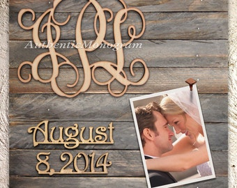 Custom Wooden MONOGRAM & DATE to Remember mounted on 24 inch PICTURE Frame Weathered Board; Home Decor - Wedding Gift  5104*