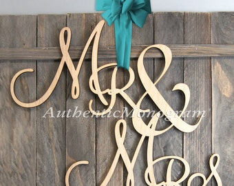Mr & Mrs Sign Wedding sign 24 inch Mr and Mrs  Monogram Wedding Rustic Unpainted Monogram Wedding Decor Initial Monogram   911092