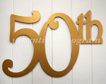 Large Wooden Number Painted Monogram, 50th Anniversary, Birthday, Wedding Decor, Wall Decor, Home Decor, 24 inch