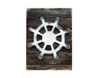 Boat Wheel Wall Art on Rustic Wooden Block - Vintage Beach Decor Coastal - Home and Garden Decor  - Boat Decor- Kids Room Decor