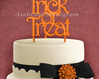 """Wooden Unpainted Cake Topper """"Trick or Treat"""" Home Decor Monogram, Initial, Celebration, Anniversary, Special Occasion, Holiday (4213"""