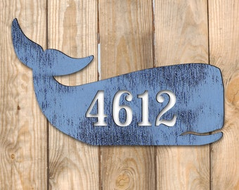 Coastal Door Numbers Sign - House Number Plaque - Custom Home Address Sign MA985162