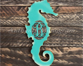 Personalized Wooden Letter, Seahorse Silhouette, Beach Decor, Ocean Wall Decor, Unpainted