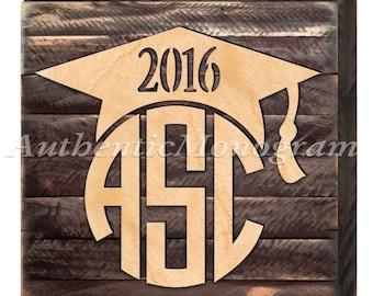 Graduation Centerpiece - GRADUATION 2019 Wooden Monogram on Rustic Distressed Board - Class 2019  #95142