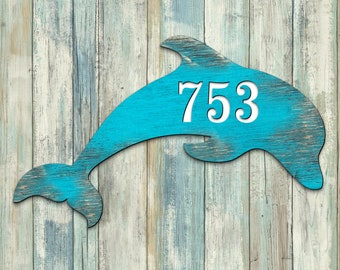 Coastal Door Numbers Sign - House Number Plaque - Custom Home Address Sign MA995193