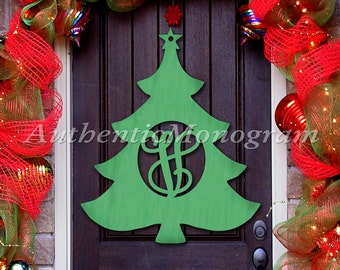 Holidays SALE - Wooden Christmas Tree Door Hanger - Christmas Decorations -Wooden Monogram - Unpainted  / Painted Home Decor  -X-Mas gift