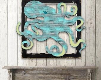 Beach Decor Wall Art OCTOPUS RUSTIC VINTAGE  Wooden Decorative Wall Art - Coastal decor - Beach decor  G98512S