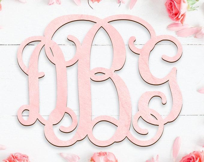 Featured listing image: Wooden Monogram - Tree Letters Vine Script Painted - Door Hanger - Wall Hanger - Wedding - Wedding Gift