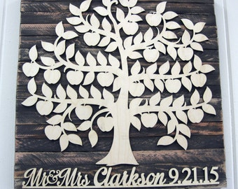 Personalized Wedding Guest Book - Wedding Wooden Sign _  Rustic Wall Decor - Custom Family Tree - Custom Guest Book for 200 Guest