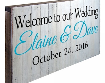 Wedding Welcome Sign - Welcome TO OUR WEDDING, Custom Last Name and Date Wall Art Sign  #973136